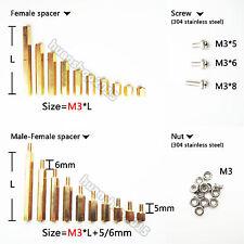 25/50/100pcs Brass M3 Hex Column Standoff Support Spacer Screw Nut PCB Board