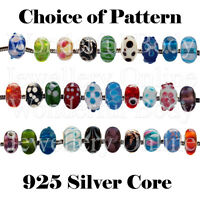 1 x Lampwork Bead for Charm Bracelet 925 Silver Core Choice of Design