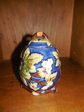 Wanjiang Nouveau Majolica ~ Blue with Raspberries & Vines ~ Sugar Bowl