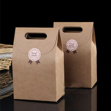 2017 10 PSC Kraft Brown Paper Handle Shopping Gift Merchandise Carry Retail Bags