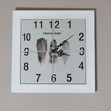 #1 Wanduhr mit Kacheln Retro Vintage  neu Fliese Uhr Home sweet home Federn
