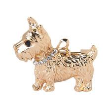 Rhinestone Delicate Dog Animal Metal Brooch Lapel Collar Pin Fashion Jewelry