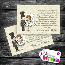25 x Wedding Poem Cards For Your Invitations - Ask Politely For Money Cash Gift
