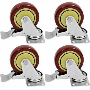"""Seismic Audio (4) LOCKING 4"""" SWIVEL CASTERS Heavy Duty Rubber Wheels"""