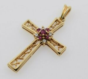 14K Yellow Gold Vintage Style Cross Pendant with Diamonds and Rubys