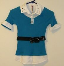 Beauties Blue Shirt with Belt and Jeweled Collar Girl's/ Kid's Sz Medium NWT  F