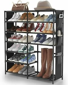 7 Tier Shoes Rack Boots Shelf Organiser 30 Pairs Shoes Storage Metal Shoes Tower