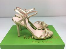 Kate Spade New York Florence Gold Metallic Nappa Sandal Heels Size 7 M Strappy
