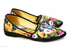 Vintage 1960s Slippers Floral Quilted  7 M  Wedge Unworn Modified Pointed Toe