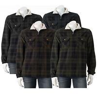 New Croft & Barrow Men's Plaid Fleece Shirt Jacket 4 Colors Size L, XL MSRP $70