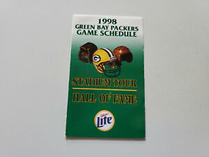 RS20 Green Bay Packers 1998 NFL Football Pocket Schedule - Miller Lite/Tours