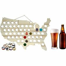 """USA Beer Bottle Cap Map - 24"""" x 15"""" - Hanging Wooden Man Cave Sign - Collectible"""