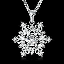 "925Sterling Silver Jewelry Nobal Snowflake Pendant Woman Necklace 18"" NB771"