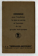 "PARIS (XVII°) INSTALLATION de GROUPES MOTO-POMPE ""S.A. MOTEURS BERNARD"" Guide"
