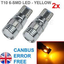 2x T10 6-SMD 5630 LED AMBER 501 W5W CANBUS SIDE INTERIOR PLATE LIGHTS BULBS
