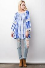 JODIFL BlueTie dye  tops blouse Peasant Tunic long Sleeves crotchet SML NEW