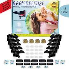New 48 Pc Child Safety Cabinet Locks and Latches Baby Home Starter Kit - Black