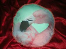 "TROPICAL PURPLE BLUE LAVENDER PINK FLAMINGO ACCENT BUTTONED PILLOW 13""-14"" ROUND"