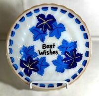 """Fire King Shell Hand Painted Best Wishes 7 1/4"""" Salad Plate"""