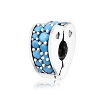 Arcs of Love Clip Cyan Blue Crystal 925 Sterling Silver pandora charm