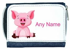 Personalised Girl/Lady Denim Purse With Cute PIG / PIGLET