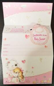 Invitations Baby Shower Spanish Pink Party 10 Girl Bear Invitaciones Decoration