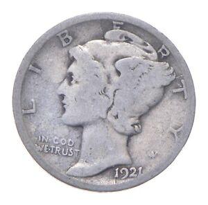 Rare - Key Date 1921-D Mercury Silver Dime - Low Mintage *406