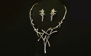 Gold Color Jewellery Set Necklace Earrings Women Gift Bridal Gold Plated Pendant