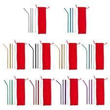 5pcs Reusable Stainless Metal Drinking Straws Bent Straight w/ Cleaner Brush Kit