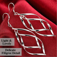 925 Sterling Silver Plated Banana Shaped Skeleton Leaf Filigree Drop Earrings