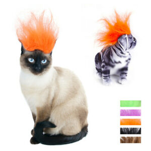 Pet Dog Cat Hat Costume Wig Punk Hair Halloween Dress Up Cosplay Party Decor