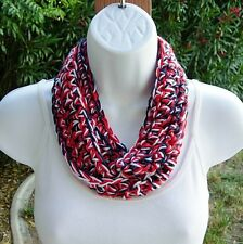 Red White and Blue 4th of July Scarf Patriotic Crochet Knit Small Skinny Summer