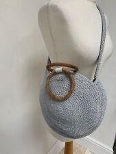 Circular Blue Grey Cotton Crochet Round Cross Body Bag Wooden Handles