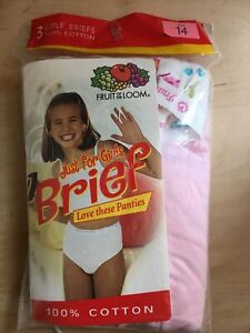 Fruit of the Loom & Hanes Girls Brief Underwear, Size 14 (NWT) 3 Pair