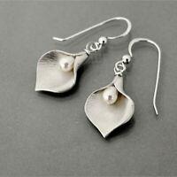 925 Silver Pearl Ear Hook Dangle Drop 18K Yellow Gold Filled Petal Earrings