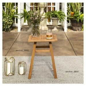 Park Wood Outdoor Patio End Table with Chevron Design, Brown
