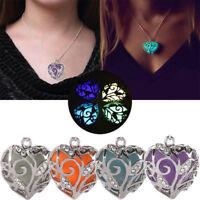 Women's Luminous Hollow Heart Shape Pendant Necklace Glow In Dark Locket Jewelry