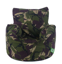 Cotton Army Camo Camouflage Blue Bean Bag Arm Chair with Beans Child / Teen size