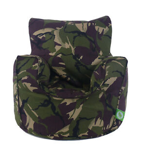 Cotton Army Camo Camouflage Bean Bag Arm Chair with Beans Child / Teen size