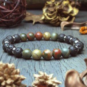 Bracelet Homme perles 8mm pierres naturelles Jaspe Picasso Lave Volcanique Inox