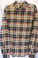 NWOT Mens Eddie Bauer flannel shirt XL Brown Teal Blue Plaid long sleeve NEW