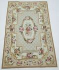 Vintage Handmade French Floral Design Multicolor Wool Aubusson Rug 181x118cm