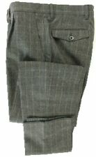 Vigano - Charcoal & Brown POW Wool Flannel Pants, Size 30-32 & 38, Made in Italy
