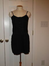 LUX FOR URBAN OUTFITTERS BLK EMBROIDERED SPAGHETTI STRAP ABOVE KNEE MINI DRESS S