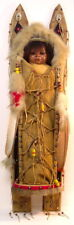 cradle board with doll, made with wood, rabbit fur, beads, brads, leather