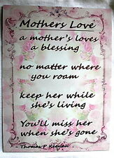 Vintage A Mothers loves a Blessing  A5 Pink flowers metal sign Irish gift