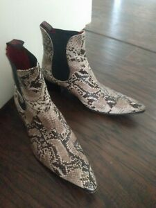 Jeffrey West Muse Leather Snake skin boots 12 Rare used Chelsea boot