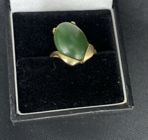 14k Yellow Gold Nephrite Jade Ring Size O Unusual Vintage 14 Ct Not 18ct Or 9ct