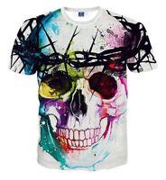 PIZOFF Unisex Sommer leicht bunt bequem cool 3D Print Schmale Passform T-Shirt