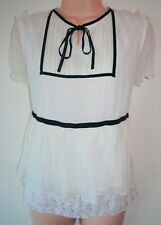 Womens Almost Famous Blouse Top Sz 12 Ladies Cream Black Silk Short Sleeve 2nd